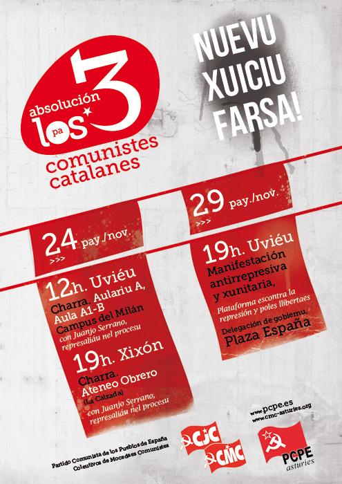 Acciones y convocatorias por los 3 comunistas catalanes Cartel_asturies-web